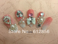 24 Pcs/set Fashion Delicate box Red Inlay crystal 3D False nails +Nails glue Gift