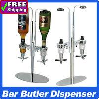 High Quality !  Bar Butler Aluminum Alloy 2-Bottle Shot Cocktail Carousel Dispenser holders win rack  for Barware  Party Tools
