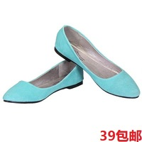Candy color leather fashion thick at the end of the single women flat shoes, free shipping