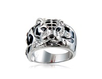 18K RGP Plated Zinc Alloy Leopard Ring Sz 9 (White Gold)