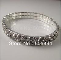 12X Two Row Rhinestone Alloy Stretch Wedding Bride Bracelet,Girls Jewelry,Free shipping