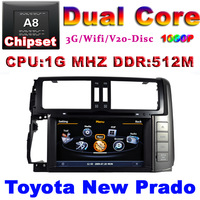 Car DVD for Toyota New Prado 150 with1G CPU 3G Host S100 Support DVR wifi 8 HD screen audio video player Free shipping