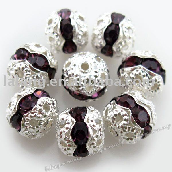 60x Round Fantastic Silver Plated Copper and Purple Rhinestones Beads 8mm 110236(China (Mainland))
