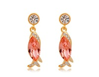 18K Gold Plated Alloy & Pink Zircon Fish Earrings (Pink)