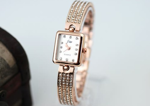 new design high quality four roiws stone watches decoration watch square shape(China (Mainland))