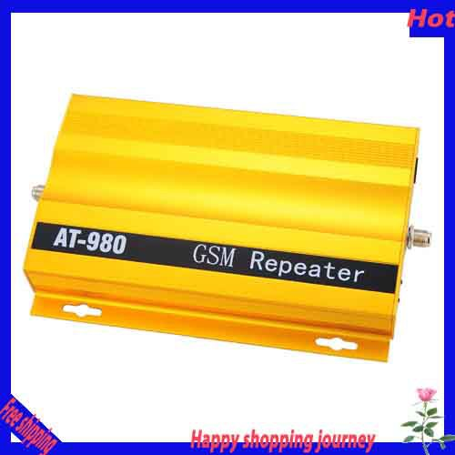Brand New HOT 500 Square Meter Work, GP 66dB, AT-980 F-Connector GSM Repeater Signal Amplifier Booster for Cell Phone Free Ship(China (Mainland))
