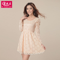 Women's 2013 spring pink long-sleeve dress slim lace one-piece dress sweet