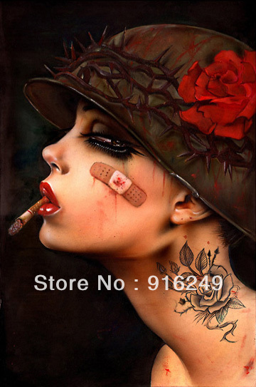 Handpainted Oil Painting on Canvas Smoking Girl Painting Reproduction Pop Art Nude Art Sexy Woman Painting(China (Mainland))
