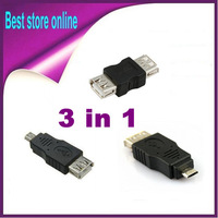 3 in 1 kits Female USB to Micro USB, to Mini 5PIN, to Female USB