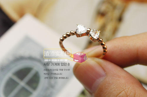 No Shipping Wholesale! Bow crystal k rose gold titanium ring accessories gift -JZX1(China (Mainland))