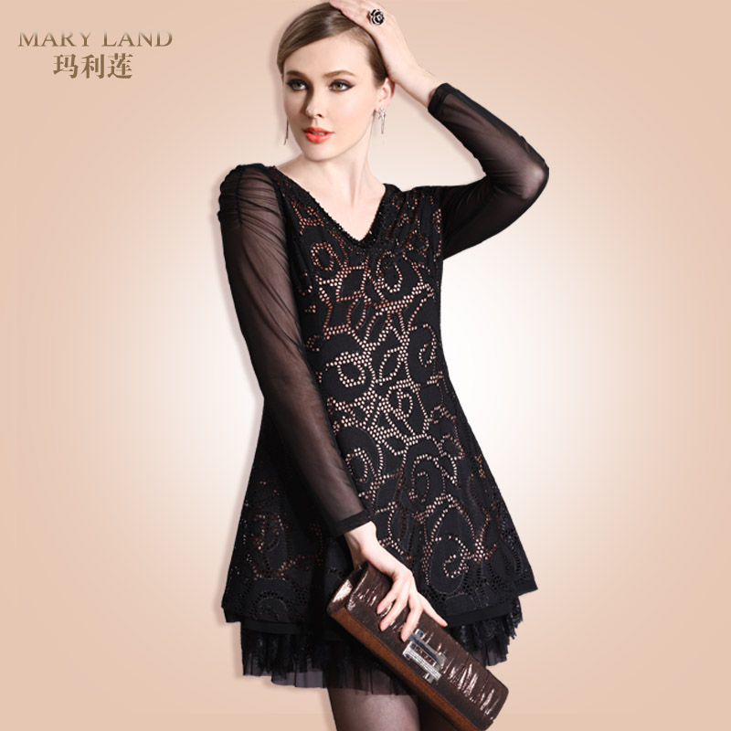 2013 spring one-piece dress plus size women midguts lace one-piece dress 3507(China (Mainland))