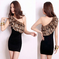 2013 summer fashion women's one shoulder ruffle slim oblique hip sexy one-piece dress