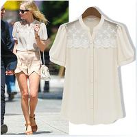 2013 summer women's fashion o-neck ruffle lace female short-sleeve chiffon shirt top