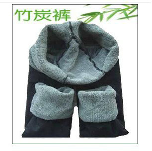 Autumn and winter 9 women&#39;s double layer elastic thickening thermal bamboo charcoal legging socks(China (Mainland))