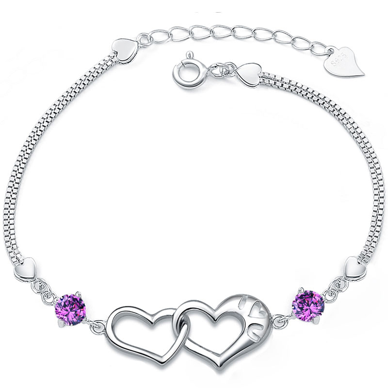 S925 pure silver jewelry bracelet diamond female natural amethyst fashion birthday gift(China (Mainland))
