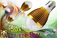 CREE Dimmable 50pcs/lot Dimmable Bubble Ball Bulb AC85-265V E27/E14/B22 9w High power Globe light LED Light Bulbs Lamp Lighting