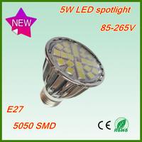 New wholesale 10pcs/lot 85-265V High power lamp 5W SMD5050 spot light 24 LED Spotlight CE E27 led light bulb free shipping