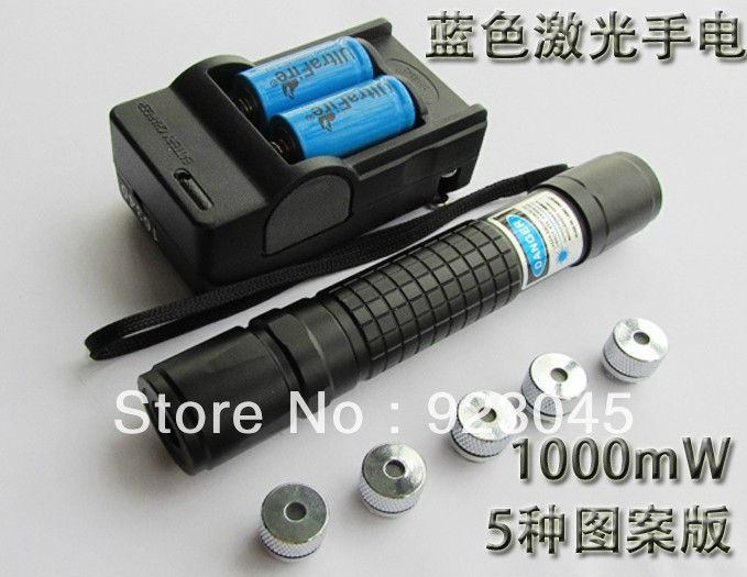 445nm/447nm/450nm 1000mw/1Watt 2000MW Waterproof focusable blue laser pointer burning star pointer torch + free goggles(China (Mainland))