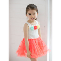 2013 New Wholesale Chiffon Girls Kids Tutu Dress Fashion 3 Flowers Princess Dance Dresses Garment Free Ship