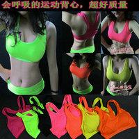 Neon breathable sports bra vest ds costume hiphop yoga underwear female sexy short basic small vest