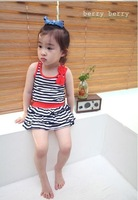 2013 minnie girl set 4 PCS = 1 lot, the new 2013 han edition girls bow stripe two-piece summer hot virgin suit