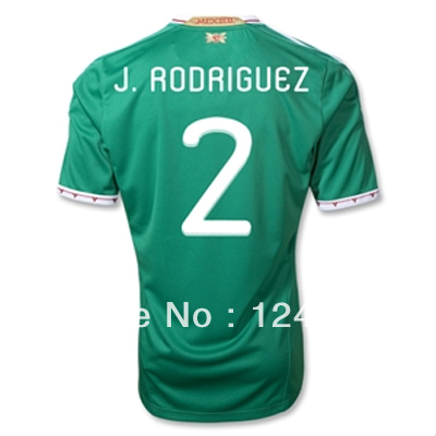 Super Customized Home Mexico #2 J.RODRIGUEZ Soccer Jersey & Short Kit 11/13(China (Mainland))