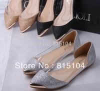 Free drop shipping girls fashion pointed toe metal toe flats women shoes woman casual Ladies 2013 spring news glitter