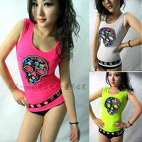 2013 summer women's sparkling diamond skull slim vest double layer gauze neon basic t-shirt multicolor