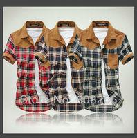 Hot ! 2013 new mens designer shirts slim short sleeve casual shirts for men M/L/XL/XXL