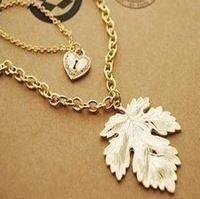 Love double maple leaf long necklace sweater chain