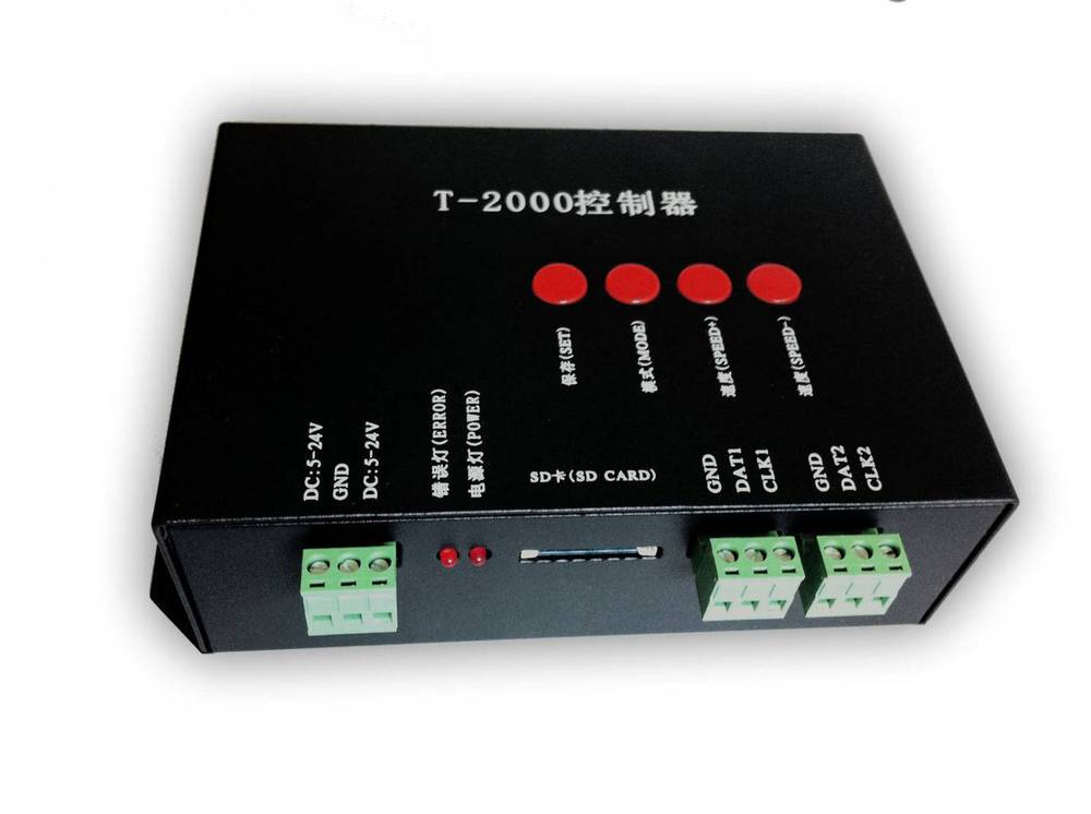 TM1804/LPD6803/WS2811 DC5-24V Pixel Controller for digital led screen, two port output, control 2048 pixels+LedEdit Software(China (Mainland))