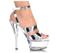15CM thick bottom sexy high heels silver crystal performances shoes nightclub fun sandals 516