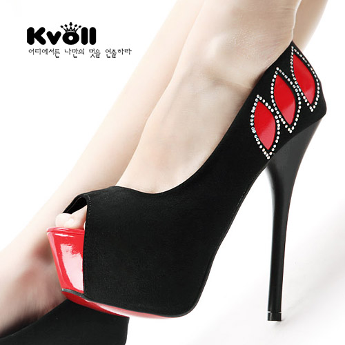 Kvoll 2013 spring shoes satin diamond color block decoration shallow mouth ultra thin heels high heels open toe single shoes(China (Mainland))