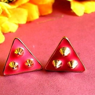 Fashion vintage e1124 HARAJUKU trigonometric rivet black earrings stud earring accessories female 3g(China (Mainland))