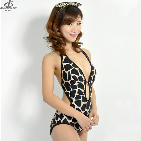 CMM Free shipping 2013 female sports swimwear one piece leopard print sexy hot-selling swimwear spa(China (Mainland))