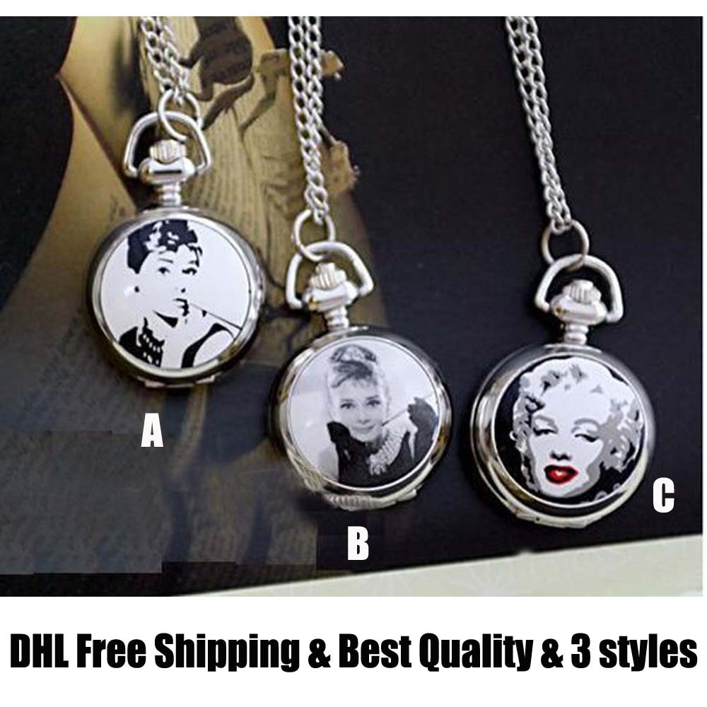 DHL fee shipping~10pcs/lot~3 styles~Marilyn Monroe Audrey Hepburn fashion Pocket Watch of necklace #69~ Memorial vintage retro(China (Mainland))