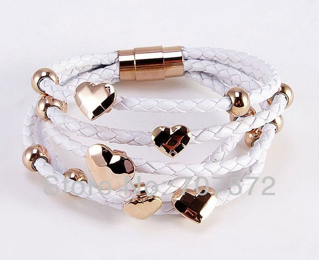 High-quality plated 18k rose gold bracelet 5 wrap real Leather charm titanium Stainless Steel Clasp Bracelet NS-B346(China (Mainland))