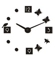 Free shipping New style personalized clock diy stereo digital clock wall clock short pointer variety color 1pc/lot