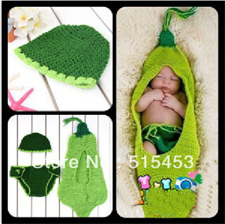 free shipping, Manual wool knitted baby photography clothing kids pea Sleeping bags hat Diaper cover 3pieces suit(China (Mainland))