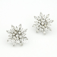 New Design Top Quality Fashion Luxury Silver Plated Crystal Snow Flower Stud Earrings
