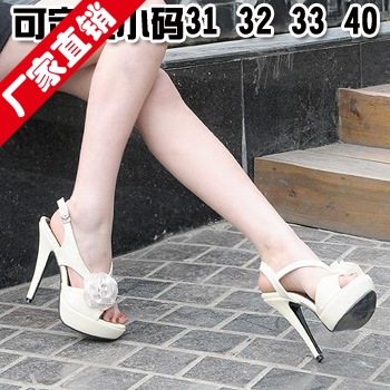 Free shipping 2013 elegant rose thick platform high-heeled open toe sandals wedding shoes size 31 32 33 40(China (Mainland))