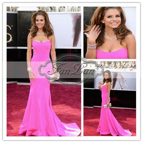 Hot Pink Maria Menounos 85th Oscar Dresses 2013 Floor Length Sweetheart Celebrity Oscar Dresses(China (Mainland))