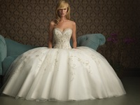Beadings Appliques Ornaments Strapless Sweety Neckline Organza Ball Gown Wedding Dresses 2013 New Design