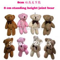 New H=8cm Cartoon Joint Bow teddy bear Plush Pendant,Key Dolls,Mobile Phone pendant,key pendant,bag pendant,Plush toy,40pcs/lot