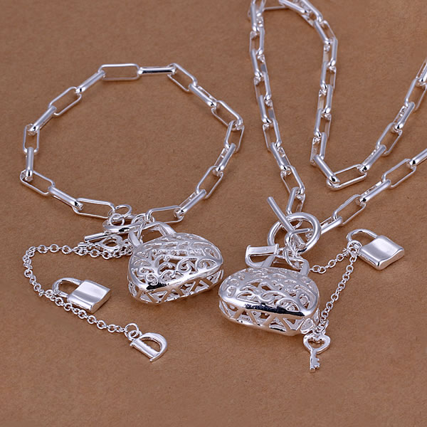 S006 925 silver jewelry set,classic style,fashion jewelry,Nickle free antiallergic Bag Pendant Two-Piece Jewelry Set(China (Mainland))