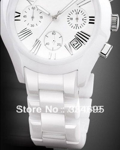 EMS Free Shipping White Ceramic Mens Chronograph Watch AR1403 C/W Original Boxset(China (Mainland))
