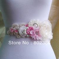 Free Shipping Ivory Bridal Sash, Wedding Belt, Rhinestone and Pearl Flower Sash Applique