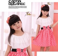 hot sale 100%cotton and lace lovely girls bow knee-length dresses free shipping