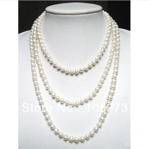 New Arriver Pearl Jewelry 60&#39;&#39; Long Style White Color Natural Freshwater Pearl Necklace 7-8mm Round Beads Top Quality Hot Sale(China (Mainland))
