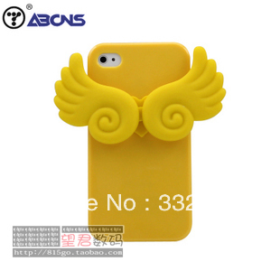 Free Shipping Korea for iphone4 4s 5 candy-colored angel wings of love cell phone shell the for samsung 9100 9300 soft shell(China (Mainland))